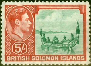 British Solomon Is 1939 5s Emerald-Green & Scarlet SG71 Fine Mtd Mint