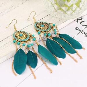 Fashion Statement Feather Dangle Drop Earrings Boho Long Tassel Hook Earrings LC