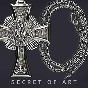 Tempelritter Set: Anhänger + Halskette 925 Silber Freimaurer Kreuzritter Templar