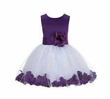 White Rose Petal Flower Girl Dress Pageant Wedding Sizes 12-18 months 2-12 years