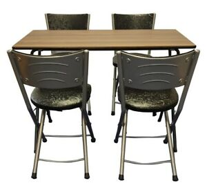Meta Folding Dining Table with 4 Artificial Faux Leather Padded Chairs Set