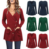 US Women's Wrap V Neck Buttons Down Tunic Tops Ladies Casual T-Shirts Blouse Tee