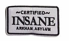 Batman Certified Insane ARKHAM ASSYLUM Logo Crest Embroidered Patch