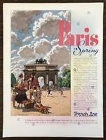 1936 French Line Ad Paris in Spring Normandie Ile de France Champlain LaFayette