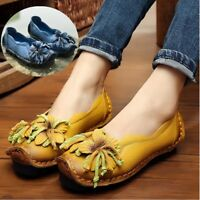SOCOFY Womens Leather Loafers Flower Soft Flats Slip On Shoes Ethnic Handmade