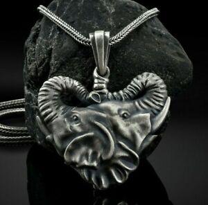 Elefant Kopf Tier Afrikanischer Anhänger Halskette Oxidierte 925 Silber Geschenk