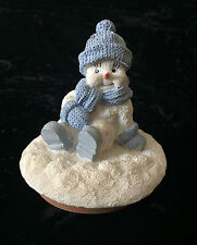 Snow Buddies Sitting Buddy Candle Jar Topper 94816 Blue And White