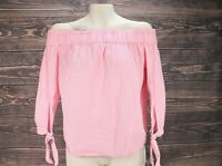 Women H&M Off Shoulder Pink Gingham Top Blouse Checkered Size 2 100% Cotton