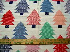 FOLK ART CHRISTMAS TREES PRINT FQ COTTON FABRIC quilt