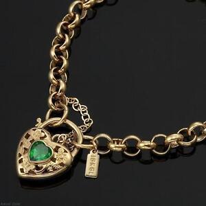 18K Yellow Gold GL Women's Solid Med Belcher Bracelet & Emerald Heart 20cm
