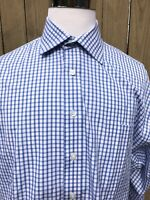 Vineyard Vines Men's Blue Check One Front Pocket Long Sleeve Shirt XL (17 1/2 R)