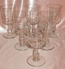 Série de 6 verres à vin ou eau en verre soufflé taillé 1900