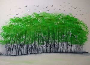 Original Watercolour painting.  Home to roost. Green  coppice.