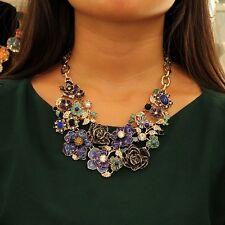 Collar Mujer Flor Azul Hoja Verde Cristal Original Matrimonio Regalo QT 4