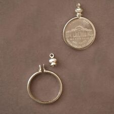 Nickel USA / 5 cent Coin Holder Bezel Silver Tone charm, necklace, pendant pk/10