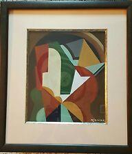 Rare oeuvre  abstraite et cubiste de Aurel RICHTER  1870 - 1957 art déco Bauhaus