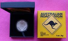 2015 Roadsign Australia Canguro $1 UN DOLLARO D'ARGENTO SATINATO BU 1 OZ (ca. 28.35 g) MEDAGLIA BOX