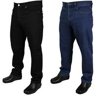 MENS KAM STRETCH JEANS WORK WEAR SMART CASUAL BLACK BLUE COLOUR BIG SIZES 40-64