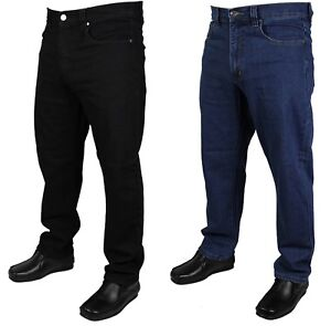 Mens Kam Stretch Jeans Smart Casual Black Blue Trousers Pants in Big Sizes 40-64