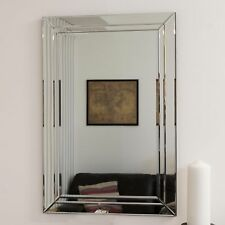 Large Modern Venetian All Glass Double Edged Wall Mirror 2Ft X 3Ft 60cm X 90cm