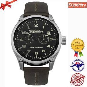 Superdry Men's 'Aviator Sonar' Quartz Genuine Leather Watch SYG208BN