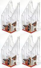 4 x Eldon A6 Clear Plastic 4 Tier Leaflet Display Brochure Holder Wall Mountable