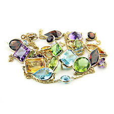14K Yellow Gold Multi-Shaped & Multi-Colored Gemstones Necklace 36 Inches