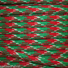 Christmas Camo - Red Green Paracord 100 Foot Bracelet Camping Survival Kit Rope