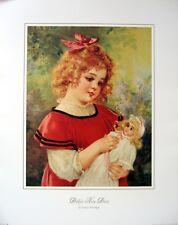art print~DOLLY'S NEW DRESS~Brundage~Victorian little girl doll vtg repro 18x22
