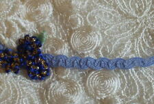 "3 yds ~ Vintage Blue 1/8"" Petite Ruching Braid Trim~Dolls~Ribbon Work~"