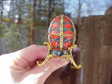 Collectible Decorated Egg Trinket/Jewelry Box Mother's Day/Birthday Gift Red