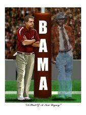ALABAMA CRIMSON TIDE FOOTBALL BEAR BRYANT & NICK SABAN  ART PRINT