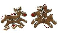 Gisela Graham Christmas Pair of Gingerbread Reindeer Tree Decorations