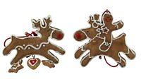 Gisela Graham Christmas Pair of Gingerbread Reindeer Tree Decorations