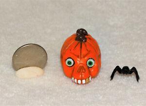 "Dollhouse Miniature Halloween ""PUMPKIN W/SKELETON FACE""-OOAK-Artist-1 1/4"" tall"