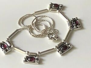 Vintage style sterling silver '925' and garnet panel necklace chain trophy 9.23g