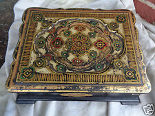 ANTIQUE VICTORIAN 19th CENTURY PAPER MACHE GILT BIBLE COVER LAP DESK