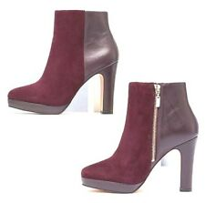 Dune Size 6 7 8 Olympe Plum Mauve Burgundy Real Leather Ankle BOOTS UK 8