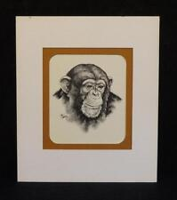 Vintage Pen & Ink Etching of a Chimpanzee by Don Bashore Pa. Artist 1 0f 3