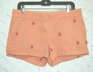J CREW 100% Cotton Broken-In Chino Shorts Embroidered Sailboats NWOT Women's 8