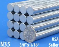 """25 Neodymium Magnets - 3/8"""" x 1/16"""" N35 Disc Magnet - Craft Strong 10mm x 1.5mm"""
