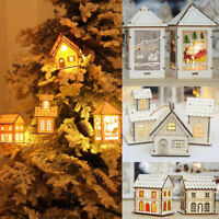 LED Light Wood House Cute Christmas Tree Hanging Ornaments Holiday Home Decor