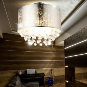 Luxus Decken Lampe Wohn Schlaf Zimmer Leuchte Beleuchtung Textil Blatt-silber