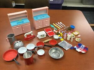 HUGE LOT Vintage Doll House Miniatures Dishes TOY KITCHEN WARE FREE SHIPPING!