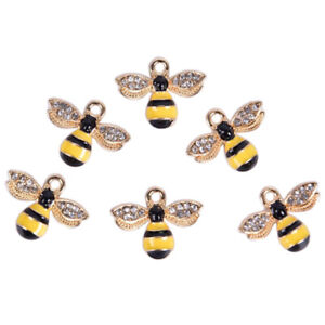 10Pcs/Set Enamel Crystal Honeybee Charms Pendant Jewelry DIY Making CraftNWUVFEH