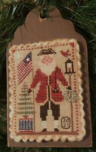 Flag Waving Santa - Santa Ornament 2021 - Homespun Elegance Chart New