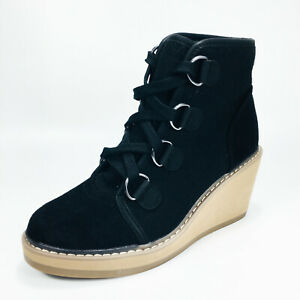 Merona Lace up Ankle Wedge Heel Boots Women's Black / Silver / Tan SZ 5.5
