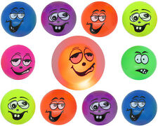 12x LED Leuchtball Smiley BUNT :-) Flummi Gummiball Blink Ball Lachgesicht