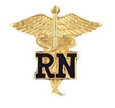Plated Emblem Safety Catch New 1021 Blue Rn Caduceus Lapel Pin Nurse Gold
