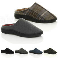 MENS FLAT WINTER FUR LINED SLIP ON MEMORY FOAM GIFT MULES SLIPPERS SHOES SIZE